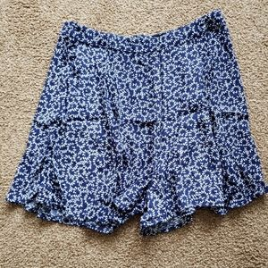 Bardot flowy navy with white floral shorts